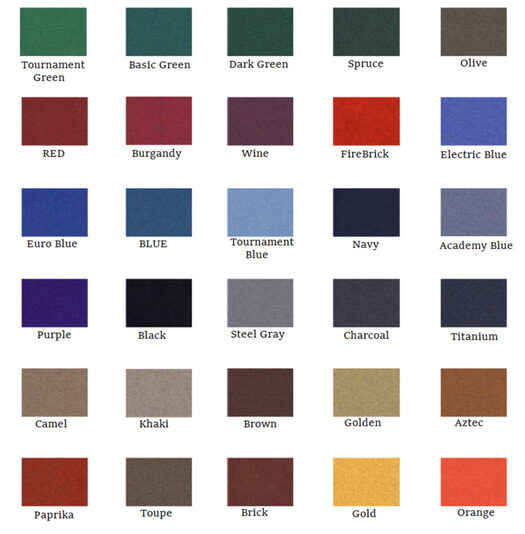 pool table felt replacement colors chart